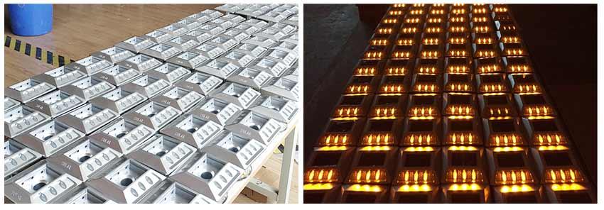 Aluminum Raised Solar Cat Eyes Road Stud in production