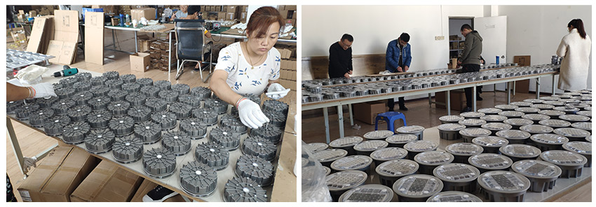 solar road stud in production